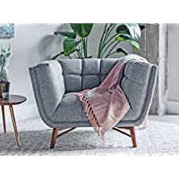 LOFTON Modern Accent Chair - Accent Chairs for Living Room - Tufted French Grey Fabric