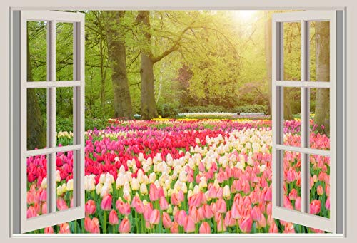 - LFEEY 5x3ft White Windowsill Backdrop Vinyl Photography Background Outdoor Spring Landscape Tulips Holland Windmill Manor Wedding Background Children Adult Portrait Photo Studio