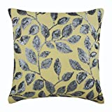 "Handmade Yellow Shams, Sequins Leaves Garden Pillow Sham, 24""x24"" Pillow Shams, Square Cotton Linen Shams, Modern Pillow Shams - Silver Meadow"