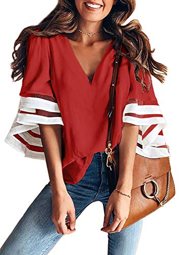 BLENCOT Womens Cute Color Block V Neck Mesh Panel 3/4 Bell Sleeve Shirt Fashion 2019 Casual Blouse Tops Red XXL ()