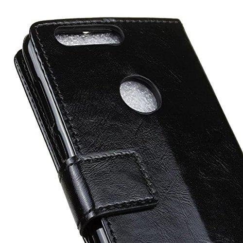 SRY-Conjuntos de teléfonos móviles de Huawei Crazy Horse Texture Funda de cuero sintético de la PU Horizontal Flip Funda de la caja Funda de la cartera Funda de color sólido para Huawei Hornor 8 Prote Black
