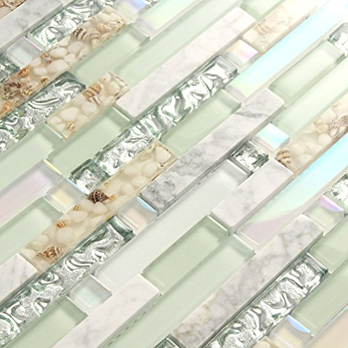 Beach Tile - Beach Style Wall Tile Mosaic Kitchen Backsplash Tiles Green Bathroom Silver Glass Conch Stone White Marble Iridescent Mosaic Art Deco Sheets (1PCS Small Sample 2.8x5.9 Inches)