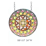HF-117 Rural Vintage Tiffany Style Stained Church Art Glass Decorative Luxury Yellow Geometry Round Window Hanging Glass Panel Suncatcher, 24''H24''W