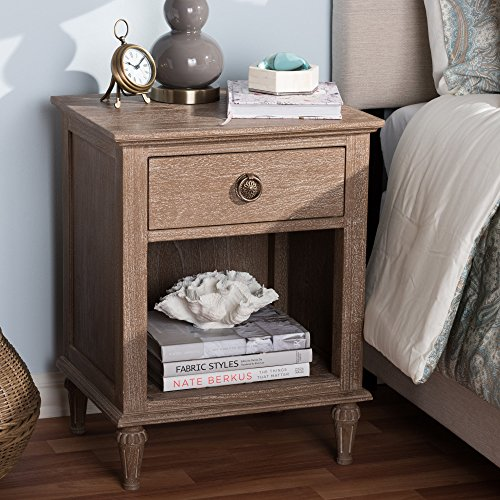 Wood 1-Drawer Nightstand by Grey Antique, Grey Finish, Washed ()