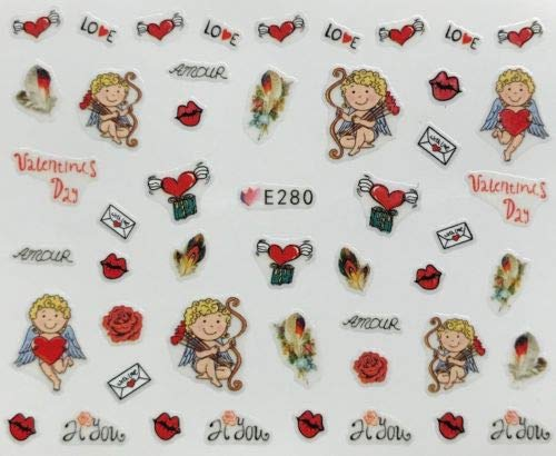 Nail Art 3D Decal Stickers Valentine's Day Cherub Love Letter Heart w Wings ()