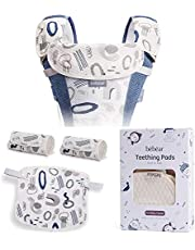 Bebamour Natural Baby Drool and Teething Pad for All Carry Positions Baby Carrier White Drool Bib for Boys & Girls (Blue)