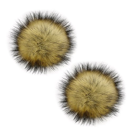 Gosear 2pcs 13cm Faux Raccoon Fur Fluffy Pom Pom Ball with Removable Brooch Pins Buckle Knitting Hat Accessories for Woolen Knit Cuffed Beanie Ski Winter Cap
