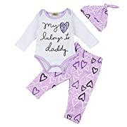 FIZUOXVE Infant Baby Girls Cute Letter Print Bodysuit and Heart Pants Leggings 4pcs Set With Headband&Hat 6-12 Months