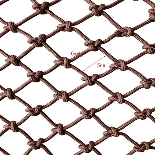 HUU Protective Net for Balcony Rope Net Protection Net Pet Fence Net Child Safety Net Climbing Net Anti-Fall Net, Railing Safety Net Balcony Safety Net Protection Net Hanging Net Nylon Rope Brown