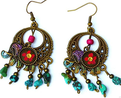 Lightweight Colorful Flower Boho Elephant Turquoise Dangle Earrings Bohemian Indian Jewelry for Women ()