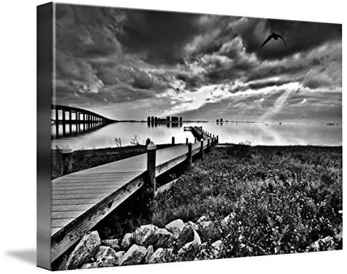 Wall Art Print entitled Black And White Fishing Pier-Navarre Park Florida by Eszra Tanner | 24 x - Florida Pier Park