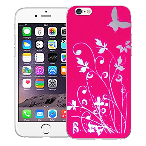 "Mobile Case Mate iPhone 6 4.7"" Silicone Coque couverture case cover Pare-chocs + STYLET - Pink Meadow pattern (SILICON)"