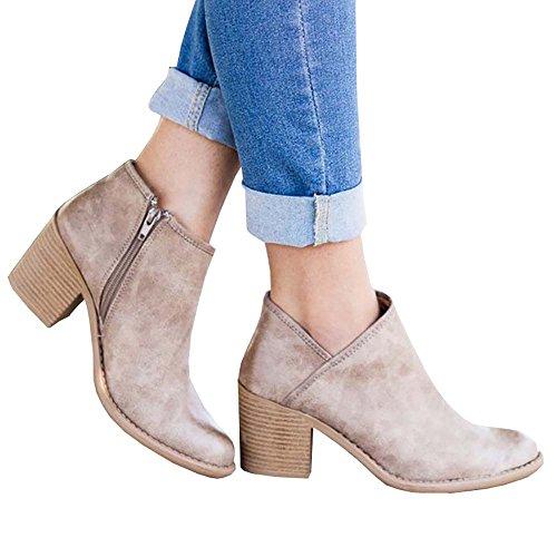 Close Zip Toe Heel Nulibenna Booties Boots Ankle Stacked Womens Side Khaki Western Block qAwEX1