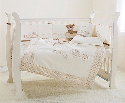 JACKBABYBABY Baby Bedding Set Cotton 3D Embroidery Bear Quilt Pillow Bumper Bed Sheet 5 Pieces Set White by JACKBABYBABY