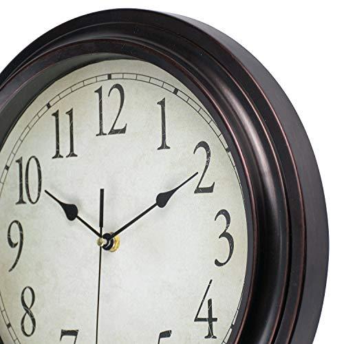 12-Inch Round Classic Clock Retro Non Ticking Quartz Decorative Wall