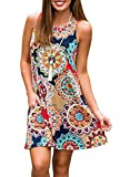 Demetory Womens Summer Floral Print Sleeveless Scoop Neck Tunic Dress with Pocket