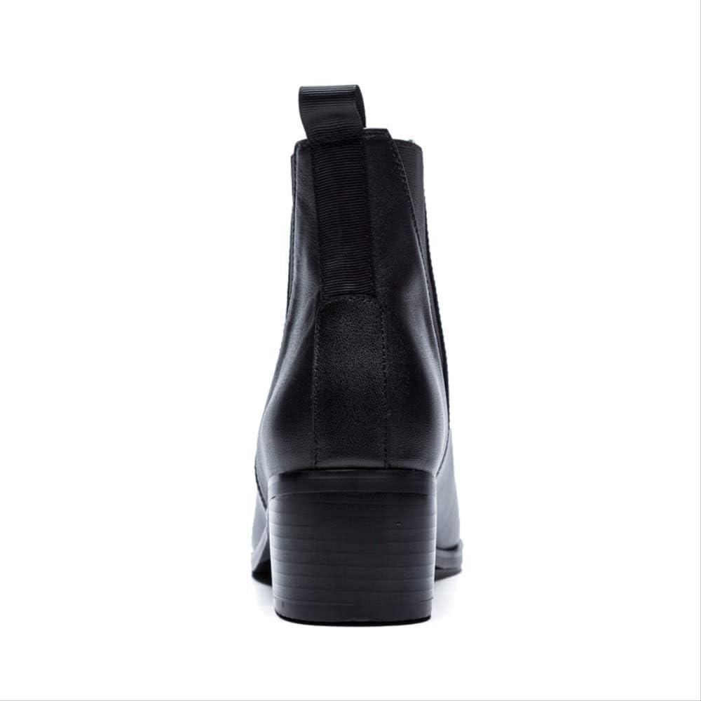 SHZSMHD Nuevas Botas de Mujer de Moda Primavera/otoño Botas de Cuero Genuino Mujeres Botines de tacón Alto básicos Tacones Zapatos Negro WxJYt