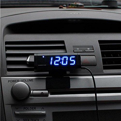 Multiple Functions Car Thermometer Clock Voltmeter Automotive Interior and Exterior Temperature Meter Calendar Clock Universal