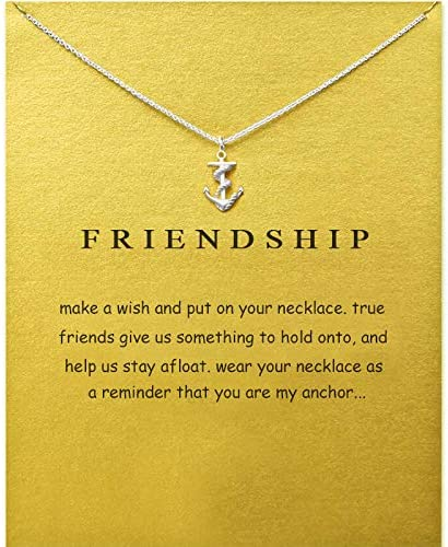 SK Angel Message Card Compass Pendant Necklace Friendship Starfish Good Luck Elephant Pendant Chain Necklace with Gift Card