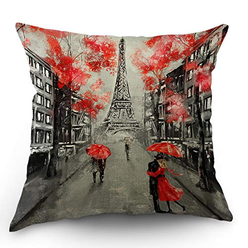Moslion Paris Throw Pillow Case Lovers Kiss in France Street Red Umbrella Leaves Eiffel Tower Valentine's Day Pillow Cover Decorative Square Cushion Accent Cotton Linen 18x18 Inch for Sofa Chair Grey