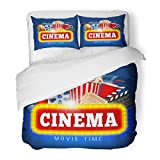 SanChic Duvet Cover Set Blue Movie Cinema Design Popcorn Drink Clapping Board Cinematograph Realistic Film Decorative Bedding Set Pillow Sham Twin Size