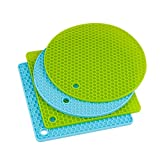 Shitailu 4 pcs Silicone Pot Holders, Silicone Trivets Multi-Purpose Hot Pads Heat, Non-Slip, Insulation, Durable, Flexible Trivet for Table Kitchen(2 Blue & 2Green)