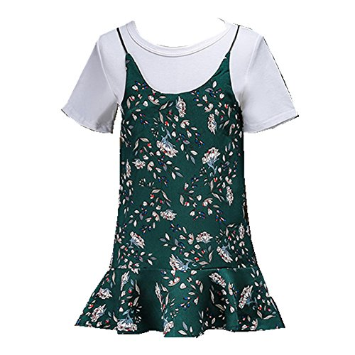ftsucq-girls-short-sleeve-shirt-top-with-floral-printed-dresstwo-pieces-setsgreen-90
