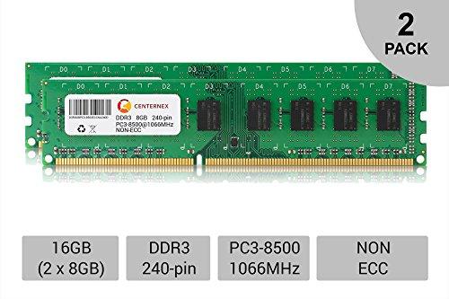16GB KIT 2 x 8GB DIMM DDR3 NON-ECC PC3-8500 1066MHz 1066 MHz DDR-3 8G Ram Memory by CENTERNEX