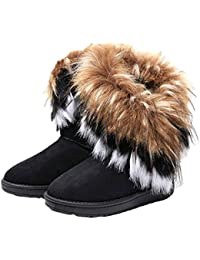 Women's Faux Fur Tassel Winter Snow Boot Suede Flat Ankle...