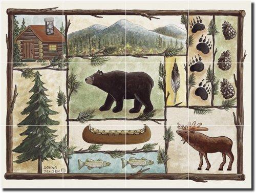 Cabin Fever by Donna Jensen - Lodge Art Ceramic Tile Mural 18