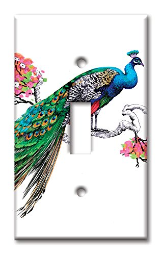 Art Plates Brand Single Toggle Switch / Wall Plate - Colorful Peacock
