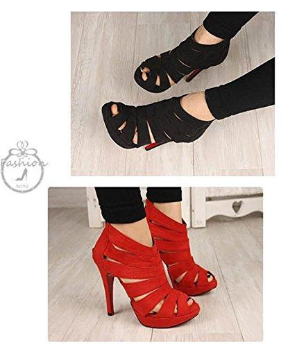 Womens Plattform Pump Stilett Höga Klackar Boots Sandalen Skor Röd