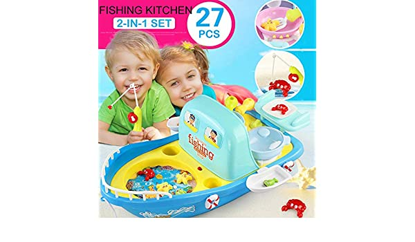 Amazon.com: LtrottedJ 27pcs Sea Outing Fishing Kitchen with Light Music 2 in 1 Set Childrens Gifts: Toys & Games