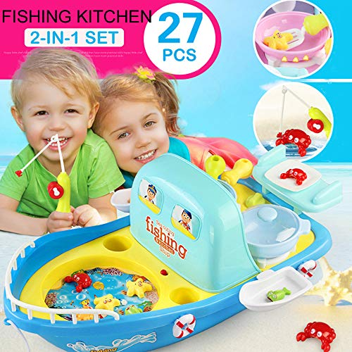 Outing Fishing Kitchen with Light Music 2 in 1 Set Children's Gifts ()