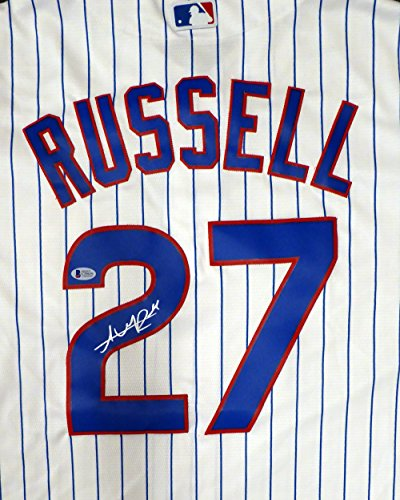 Chicago Cubs Addison Russell Autographed White Majestic Cool Base Jersey Size L Beckett BAS Stock #125150 Chicago Cubs Autographed Majestic Jersey