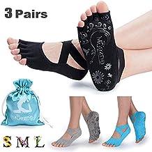 Muezna Non Slip Yoga Socks for Women, Toeless Anti-Skid Pilates, Barre,