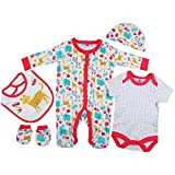 Baby-Girls Bright Pink Safari Animals Presents Gifts for Newborn Baby Girls Toddler Unisex Cute Clothing Sets Sleepsuit Vest Bib Hat Outfits Bundles Pack