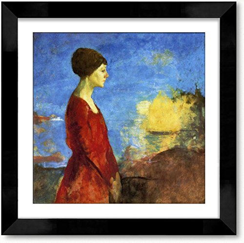 Cutler Miles Early Moonrise Portrait Of Miss Wilson Framed Oil on Canvas Painting Wall Decor Art with Matboard by Charles W Hawthorne, 24 inches x 24 inches by Cutler Miles