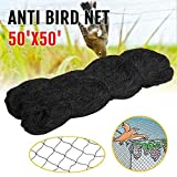 Bird Netting, Poultry Netting Protect Plants and Fruit Trees, Extra Strong Garden Aviary Net, Lasting Anti Birds, Chicken, Deer and Other Pests (25x50ft-2in) (50x50ft-2in)