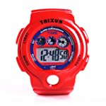 TAIXUN Unisex Time Teacher Waterproof Outdoor Sports LED Display Electric Wrist Watch Pure Color Children Dress Watch with Alarm Stopwatch for Boys Girls Teens Red