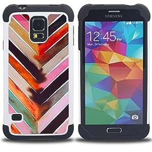 "Hypernova Híbrido Heavy Duty armadura cubierta silicona prueba golpes Funda caso resistente Para SAMSUNG Galaxy S5 V / i9600 / SM-G900 [Chevron Acuarela Pastel Tones Patrón""]"