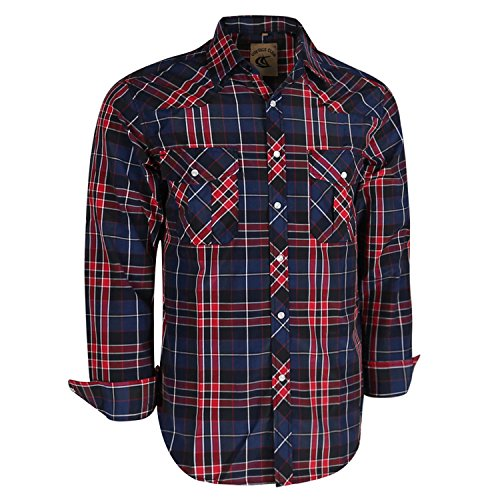 - Coevals Club Men's Long Sleeve Casual Western Plaid Snap Buttons Shirt (M, 12#red,black)