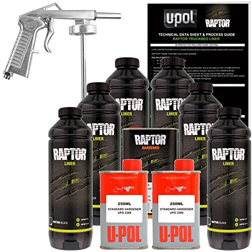 U-POL Raptor Black Urethane Spray-On Truck Bed Liner Kit w/ FREE Spray Gun, 6 Liters (Best Truck Bed Liner Kit)