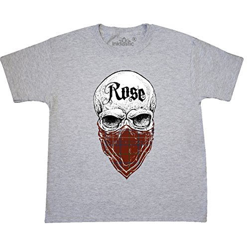 Inktastic - Rose Tartan Bandit Youth T-Shirt Youth Medium (10-12) Ash (Rose Ash Grey T-shirt)
