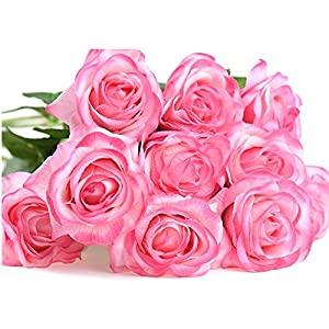 Evoio Artificial Roses Flowers, DIY Bridal Bouquet, Silk Mini Roses Bouquet, Fake Silk Plastic Curl Flowers 10 Heads Office Home Garden Party Wedding Decoration (Pink) 4