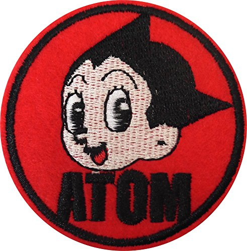 Atom Astro Boy Headshot on Red Circle - Cut Out Embroidered Iron On or Sew On Patch ()