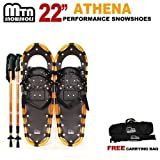 New MTN Man Woman Kid Youth 22'' WHITE Snowshoes with GOLD Nordic Walking Pole Free Bag snowshoe