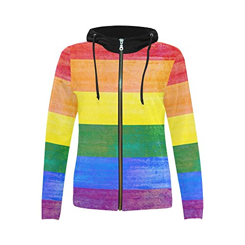 InterestPrint Rainbow Flag Stripes Print Full Zip Hoodie Sweatshirt for Women Rainbow Flag Stripes Medium