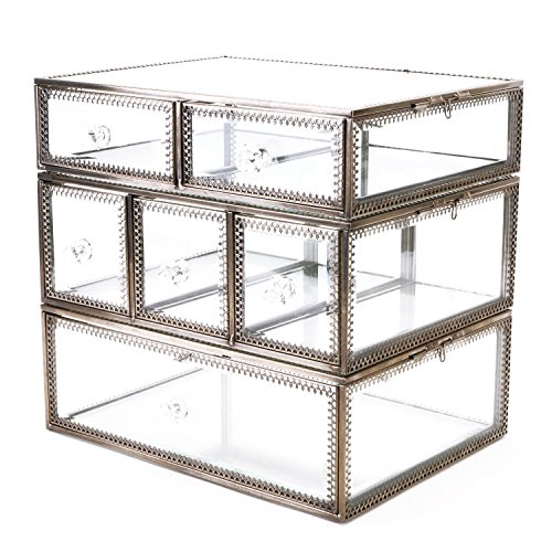 Hersoo Large Antique Mirror Glass Makeup Organizer Jewelry &Cosmetic Display, Stackable Dresser Storage for Vanity with Lid Dustproof Beauty Accent Home Decorative Box - Gorgeous Vintage Glass Bracelet