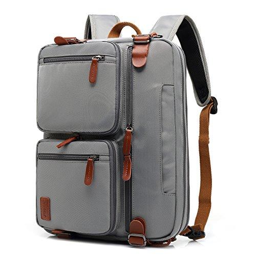 CoolBELL Convertible Backpack Messenger Bag Shoulder bag Laptop Case Handbag Business Briefcase Multi-functional Travel Rucksack Fits 15.6 Inch Laptop For Men/Women (Pure Grey) by CoolBELL (Image #6)